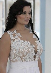 Style #PS1429 -1650 - Sleeveless Crochet Lace Plus Size Wedding Dress with Empire Waist Line