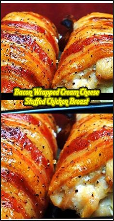 You'll Need: 1 lb of boneless, skinless chicken breàsts cut into 4 – 4 ounce pieces. 4 tbsps of creàm cheese. Chicken Potato Bake, Cheese Stuffed Chicken, Cream Cheese Chicken, Baked Chicken Recipes, Chicken Bacon, Garlic Chicken, Creamy Lemon Chicken, Best Dishes, Bacon Wrapped