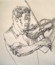 Violinist drawn in a subway station,   Williamsburg Brooklyyn