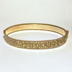 Vintage Rolled Gold Bangle 9ct 1940s Hinged 50 Micron Engraved