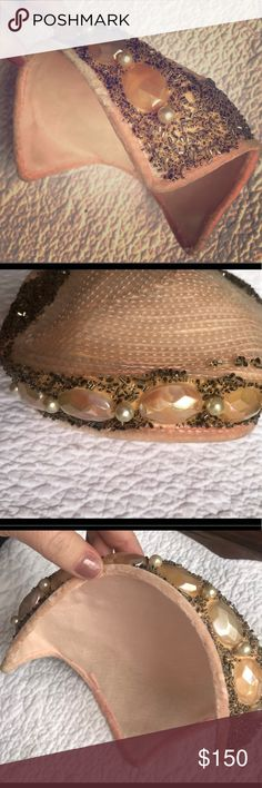 Vintage pink hat Adorned with sequins, beading, faux pearls, and large pink gems.  It is in excellent condition.  It's rigid, and holds its shape.  Pink velvet shows slight wear around the edges, but not enough to lower the value of this lovely vintage hat!  Everything is intact.  Interior is intact.  It's from the 1950s. A true gorgeous gem of a ladies hat!! Accessories Hats