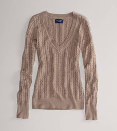 AE Cabled V-Neck Sweater  brown heather & green!