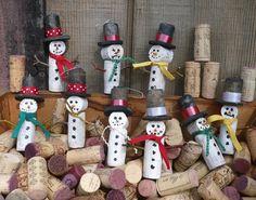 Wine cork snowmen
