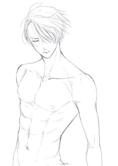 Victor drawing scenery, yuri on ice, anime guys shirtless, hot anime guys, Body Reference Drawing, Guy Drawing, Drawing Reference Poses, Drawing Base, Manga Drawing, Drawing People, Figure Drawing, Anime Drawings Sketches, Anime Sketch