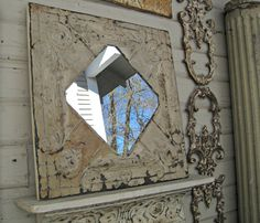 Antique Ceiling Tin Tile Mirror.  Vintage by DriveInService