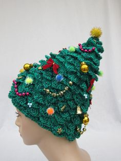 Christmas Tree Hat, crochet hat, creative hat, green hat, unusual hat, womens hat, festive hat, funky hat, crazy hat. $58.00, via Etsy.
