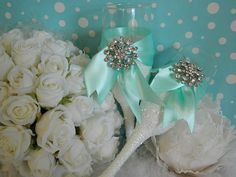 Snowflake Champagne Flutes Winter Wedding Toasting Glasses Wedding Mint Green, Aqua Wedding, Gatsby Wedding, Wedding Champagne, Tiffany Wedding, Gatsby Party, Blue Bridal, Vineyard Wedding, Chic Wedding