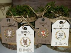 Woodland favor tags printable, woodland baby shower tags, woodland birthday favors, thank you tags, woodland animal favors by MagicPartyDesigns Best Baby Shower Favors, Baby Shower Tags, Boy Baby Shower Themes, Baby Shower Printables, Baby Boy Shower, Baby Showers, Welcome Baby Banner, Shower Banners, Baby Shower Centerpieces