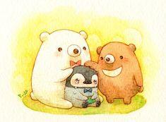 Cute Pictures To Draw, Cute Images, Kawaii Illustration, Watercolor Illustration, Kawaii Drawings, Cute Drawings, Pretty Art, Cute Art, Bear Cartoon