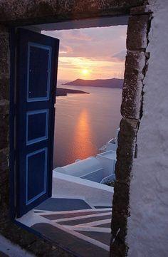 Sunset through a doorway - Santorini