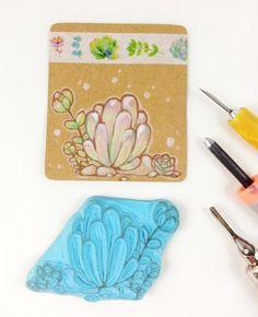 geschnitzter Stempel Sukkulente Pflanze Kaktus Stempel Scrapbook handgemacht Garten Stempel  Konturenstempel Karten Geschenk Verzierung von Nesalis auf Etsy