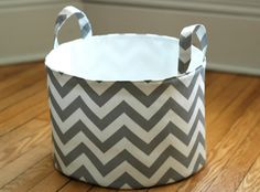 Fabric Storage Bucket  Large and Low Gray and White by NikJDesigns, $45.00.  Could be easily done diy.