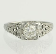 Vintage Art Deco Engagement Ring  18k White Gold by WilsonBrothers $1559 size 6 3/4
