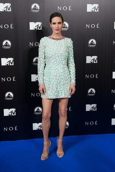 Jennifer Connelly went couture in Giambattista Valli's jeweled design on the Noah carpet.