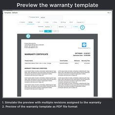 Preview the warranty template, simulate the preview with multiple revisions assigned to the warranty, preview of the warranty template as PDF file.