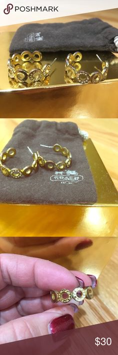 💎COACH Gold Pave Snap Hoop Earrings 💯 Authentic Elegant pair of COACH Signature gold hoops with Swarovski crystals. Two crystals are missing, as shown in the pictures. Really cannot tell when wearing. Comes with COACH dust bag in pictures. Smoke/pet free. Coach Jewelry Earrings