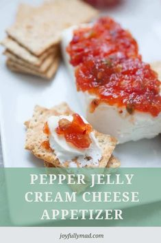 Quick appetizers are a must for parties and family get togethers! This Pepper Jelly Cream Cheese Appetizer is a huge holiday tradition because it's super easy to make and the whole family can enjoy it! It's simply a block of cream cheese with your choice of pepper jelly or fruit preserve on top, served with Back to Nature Pink Himalayan multi-grain crackers. The combination is a perfect blend of sweet, spicy and salty! Quick And Easy Appetizers, Easy Appetizer Recipes, Quick Meals, Top Recipes, Spicy Recipes, Party Recipes, Cheese Appetizers, Best Appetizers, Jelly Cream