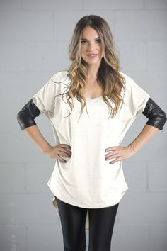 loose fit batwing sleeve casual round neck top with fake leather sleeves spandex Batwing Sleeve, Tunic Tops, Casual, Sleeves, Women, Fashion, Moda, Women's, La Mode