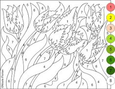 Nicole's Free Coloring Pages: COLOR BY NUMBER * FLOWERS SPRING * coloring page