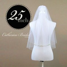 Single Tier 25 Elbow Length Veil made from by CatherineBridal, $60.00