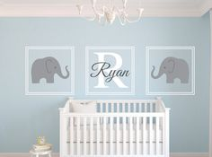 Nautical wall decal personalized name wall by winterstickers nursery decor boy, nursery wall art, Nursery Twins, Nursery Decor Boy, Nautical Nursery, Elephant Nursery, Nursery Themes, Nursery Room, Elephant Baby, Nautical Theme, Elephant Theme