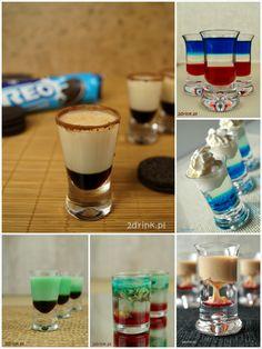 Przegląd kolorowych, warstwowych shotów, które sprawdzą się nie tylko na karnawałowych imprezach. Blue Curacao, Eat To Live, Irish Cream, Oreo, Smoothie, Food And Drink, Snacks, Chocolate, Baking
