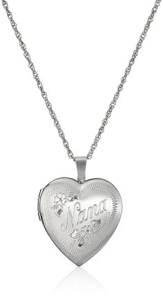 Sterling Silver Heart 'Nana' Locket Necklace, 18' > You can find more details here : Jewelry