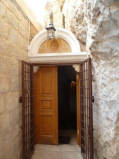 The entrance to the cave where, according to tradition, Jesus spent 40 days and 40 nights. Mount of Temptation, near Jericho