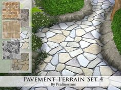 Pavement Terrain Set 4 by Pralinesims at TSR via Sims 4 Updates