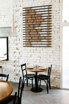 this there: marion wine bar. white brick wall and wood wine menu at marion wine bar. / sfgirlbybaywhite brick wall and wood wine menu at marion wine bar. Design Shop, Coffee Shop Design, Cafe Design, Wine Bar Design, Design Design, Design Trends, Coffee Shop Menu, Coffe Bar, Coffee Coffee