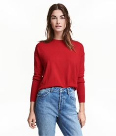 Check this out! Sweater in a soft, fine knit with wool content. Dropped shoulders, long sleeves, visible zip at back, and ribbing at cuffs and hem. - Visit hm.com to see more.