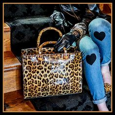 Leopard Bamboo Handle Tote