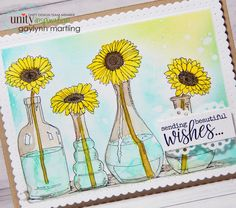 Flower vases with distress ink pads for background and watercolor.
