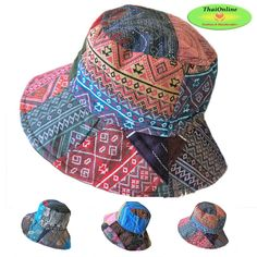 d593128c Details about PATCHWORK BUCKET HATS Fisherman Festival Sun Hat Cotton  Unisex Free Size