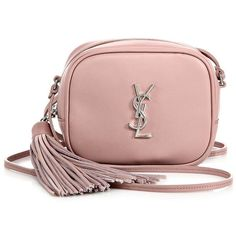 Saint Laurent Monogram Leather Tassel Blogger Pouch ($995) ❤ liked on Polyvore featuring bags, handbags, apparel & accessories, dusty rose, pink crossbody, pink handbags, leather cross body purse, leather crossbody and leather cross body handbags
