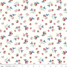 "Penny Rose Fabrics sweet flowers and mushrooms on white background. Fiber Content: 100% cotton Fabric Type: cotton Width: 45"" Designer: Erin Turner Collection: Hope Chest 2 Product #: C5161-BLUE Curre"