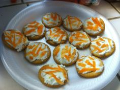 Healthy Snack! Kid made kid inspired. Ritz crackers, cream cheese  shredded carrots
