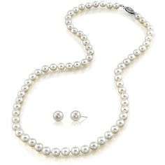 6.5-7.0mm Japanese Akoya Pearl Necklace & Earrings- AAA Quality ($549) ❤ liked on Polyvore featuring jewelry, earrings, white, clasp earrings, 14 karat white gold earrings, 14k jewelry, white pearl jewelry and 14 karat gold jewelry
