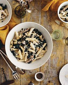 Penne with Goat Cheese, Kale, Olives, and Turkey Recipe