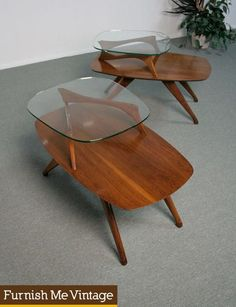 2 Mid Century Modern Two Tier Pearsall Style End Tables