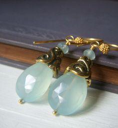 Pale Aqua Earrings on Gold . Light Aqua Chalcedony by beadstylin