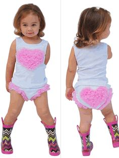 Mia belle Baby 2pc White & Pink Heart Top & Bloomer Set Infant - Baby Girl Clothes & Shoes