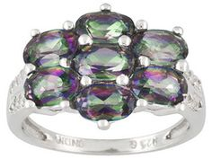 3.08ctw Oval Mystic Topaz (Tm) With Round White Topaz Accent Sterling Silver Ring