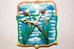 Wall Clock  Time to relax for Otter and Jelly fish by @Tchoupuce #sfetsyteam