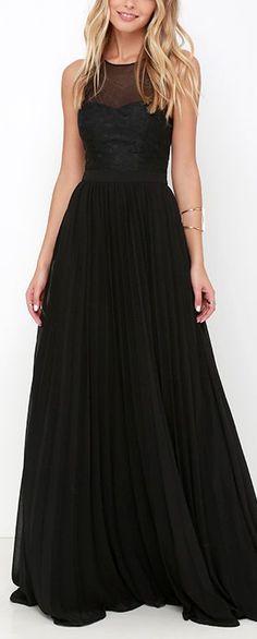 I'm Flattered Black Embroidered Maxi Dress                              …