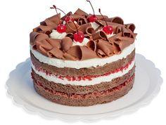 Floresta Negra Camadas de pão-de-ló de cocolate recheadas com uma camada de ganache de chocolate meio amargo, com pedaços de cereja e outra camada com chantilly e pedaços de cereja. Coberta com chantilly e decorada com raspas de chocolate e cerejas.