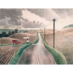 The England of Eric Ravilious We added another book to the library this week; a 2003 reprint of the 1982 publication, The England of Eric Ravilious by Freda Constable. Landscape Prints, Watercolor Landscape, Landscape Art, Landscape Paintings, Landscape Photography, Watercolor Paintings, David Hockney, A4 Poster, Naive Art