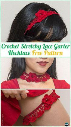 CrochetStretchy Lace Garter Necktie Necklace FreePattern