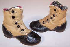 Victorian Black & Tan Leather High Button Button Baby Boots Childs Shoes