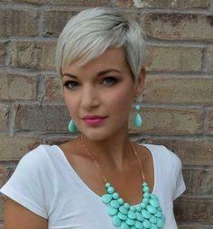 Platinum Blonde Pixie Cropped